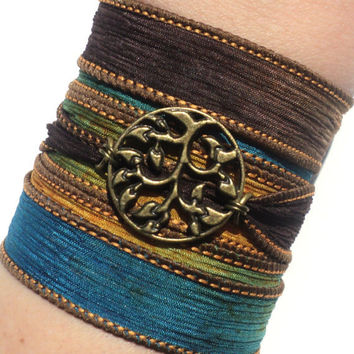 Bohemian Silk Wrap Bracelet Yoga Jewelry Tree of Life Earthy Etsy Gift For Her Mothers Day Unique Gift Under 50 Item Y130
