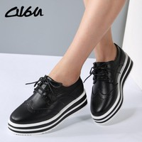 O16U Women Flat Platform Brogue Shoes Leather Lace up Pointed Toe Ladies Black White Oxford Creepers Casual Shoes Fashion 2017