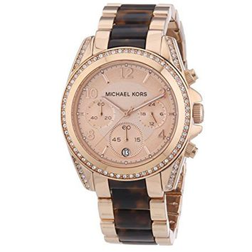 New Michael Kors MK5859 Blair Chronograph Crystals Rose Gold Tone Women's Watch