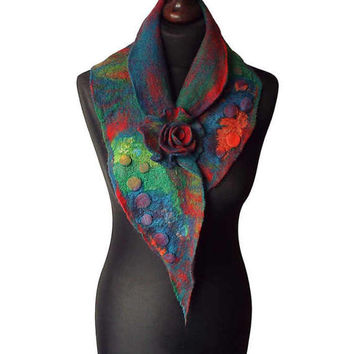Nuno felted collar colorful nuno felt scarf multicolor art to wear red green petrol women's gift collar with felted brooch spring shawl OOAK