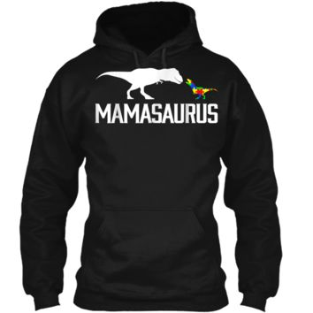 Mamasaurus Autism Mom Shirt To Raise Autism Awareness Pullover Hoodie 8 oz