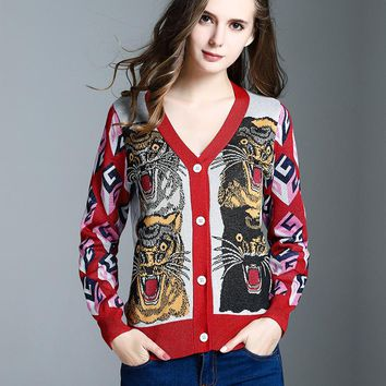 Autumn Winter New Fashion V Collar Motley Color Gold Thread Jacquard Weave Tiger Pattern Slim Single-breasted Knit Cardigan