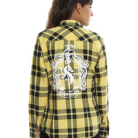 Harry Potter Hufflepuff Plaid Girls Woven Button-Up