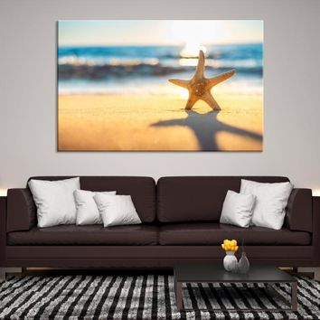 92811 - Starfish on the Beach with Shadows Wall Art Canvas Print