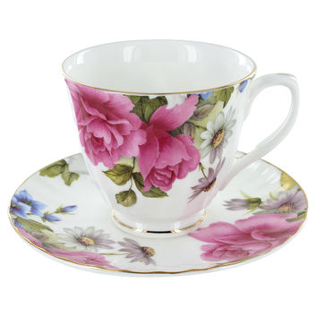 Grace's Rose Fine Bone China Tea Cup (Teacup) and Saucer Set