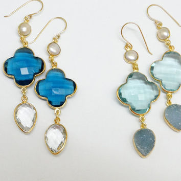 Light green Quartz, Clover Earrings, Pearl and Blue druzy drop. Gold filled. ONE PAIR