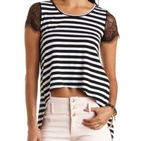 Striped High-Low Swing Tee by Charlotte Russe