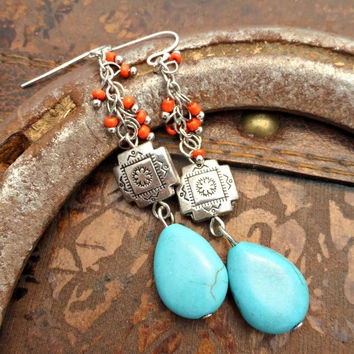 Blue Turquoise stone, red seed beads glass and sterling silver southwestern earrings.