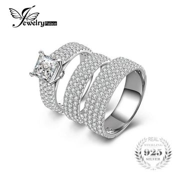 100% 925 Sterling Silver 6 ct Anniversary Engagement 3 Ring Bridal Sets Wedding Band Fine jewelry for Women