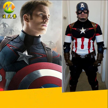 HOT Movie Avengers Captain America Cosplay Full Set Costume Original Clothing And Accessories