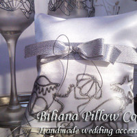 Hand painted Satin white ring bearer pillow Beach sea wedding in silver personalized wedding favor