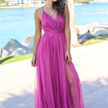 Magenta Tulle Maxi Dress with Lace Detail