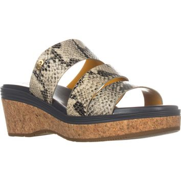 Cole Haan Allesa Grand Platform Wedge Slide Sandals, Roccia Snake, 7.5 US