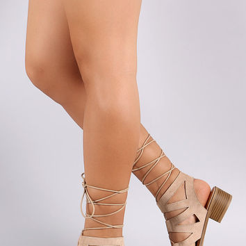 Wild Diva Lounge Corset Lace Up Open Toe Block Heel