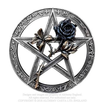 Alchemy Gothic Ruah Vered Wall Mount / Altar Piece Black Rose Pentacle Occult