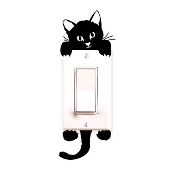 New Lovely Cat Wall Stickers Decals Removable Art Mural Baby Nursery Room Light Switch Decor Apr26 Professional High quality