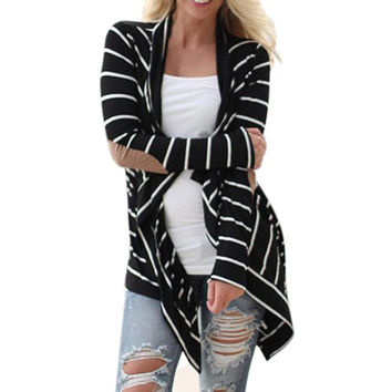 Black and White Tshirt Striped Elbow Patching PU Leather Long Sleeve Knitted Cardigan Fall Slim Spring Autumn Women Sweater