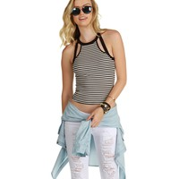 Promo-ivory Race Striped Crop Top