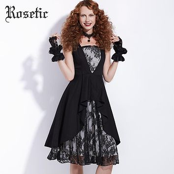 Vintage Lace Print Patchwork Women A-Line Dress Party Prom Retro Summer Asymmetrical Goth Dress