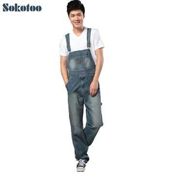 Sokotoo Men's denim bib pants male loose plus size casual jeans straight one piece long trousers suspenders overalls jumpsuit