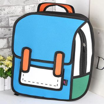 Student Backpack Children Women Backpack 3D Jump Style 2D Drawing Cartoon Back Bag Comic Messenger Tote Fashion Cute Student Bags Unisex Knapsack Bolos AT_49_3