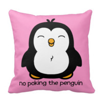 No Poking The Penguin Throw Pillow