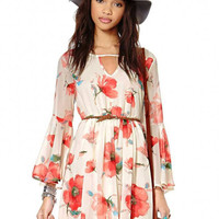 V Neck Swing Floral Chiffon Dress