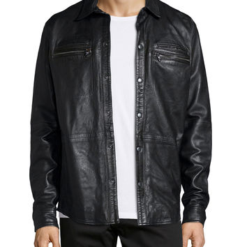 Zip-Pocket Leather Shirt Jacket, Black, Size: