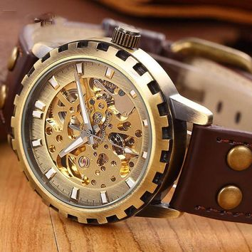 leather band men military clock automatic Skeleton mechanical Watch self wind