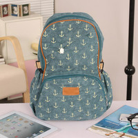 Cute Anchor Print Leisure Canvas Backpack-dark green