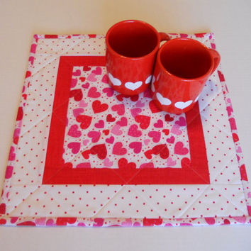 Valentines Day Quilted Table Topper, Table Runner, Mini Quilt, Hearts, Polka Dots
