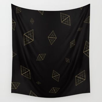 Golden Crystals Wall Tapestry by All Is One
