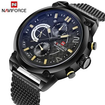 NAVIFORCE NF9068B Luxury Men's Analog Quartz Waterproof Sport Full Steel Watch
