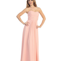 Blush Pleated Chiffon Strapless Sweetheart Gown 2015 Prom Dresses