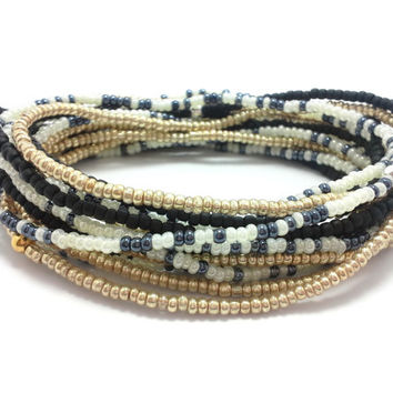 3 Stretch seed bead wrap bracelets, stacking beaded bracelets, boho anklet, bohemian, stretchy stackable multi strand, black, gold, white