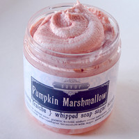 Pumpkin Marshmallow 8 oz Creme Fraiche Whipped Soap Sugar Scrub
