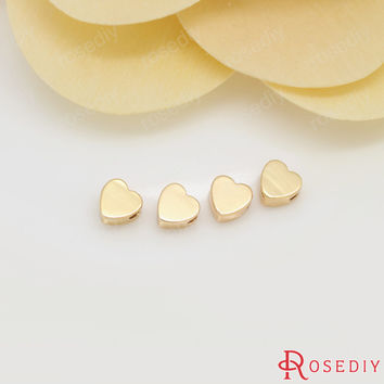 20PCS 5MM 24K Gold Plated Brass Heart Shape Spacer Beads Bracelet Beads High Quality Diy Jewelry Findings Accessories