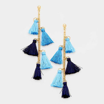 Navy Blue Ombre Hang Down Thread Tassel Earrings