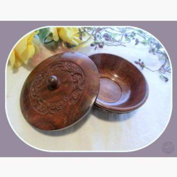 Floral Wooden Ritual Bowl With Lid