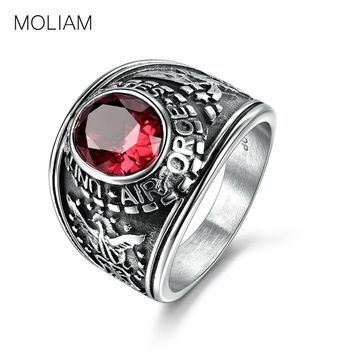 MOLIAM Stainless Steel Ring Vintage Military US Air Force Four Color Crystal Stone Punk Ring Men Jewelry MLBR144
