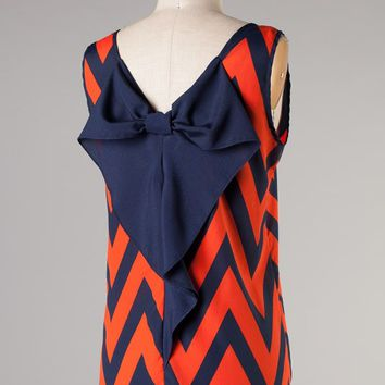 Newbury Custom Navy and Orange Chevron Print Sleeveless Bow Back Blouse