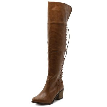 Women Shoe Back Lace-up Over The Knee Zip Up Riding Long Boots