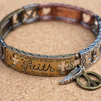 Faith,Hope and Love Stretch Bracelet- Summer Fun