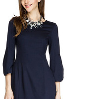 Navy Blue Chiffon in Thin Long Sleeve Mini Dress