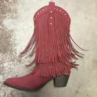Fear The Spear Fringe Boots -  Garnet