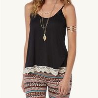 Crochet Trim High Low Cami