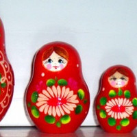 Daisy (red, blue) matreshka traditional russian nesting doll toy curved painted made by hand collectible souvenir holiday birthday gift wood