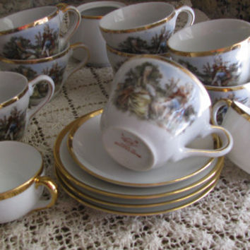 Vintage Childs Play Tea Set Variety Of Teacups And Saucers, 16pc Set, Great Baby Shower Gift For Any Girl