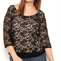 Plus Size Lace Bodycon Top with Three Quarter Sleeves