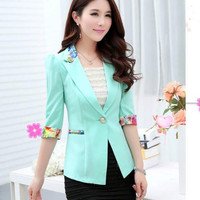 Floral Print Accent Notched Collar Blazer Suit